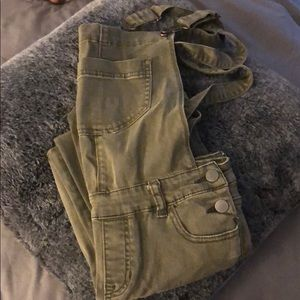 Kendall and Kylie army green overalls